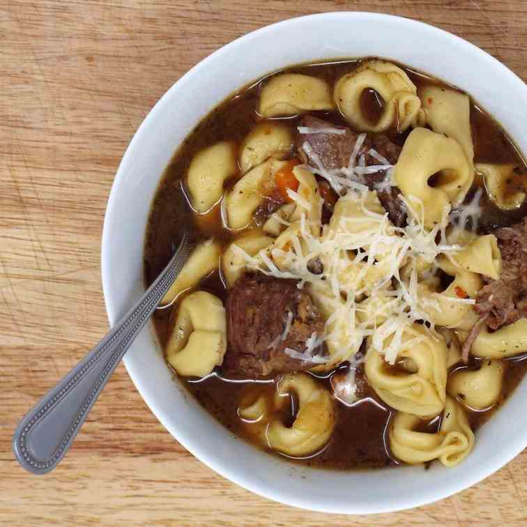 Italian Style Beef and Tortellini Soup