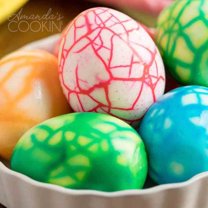Cracked Colored Eggs