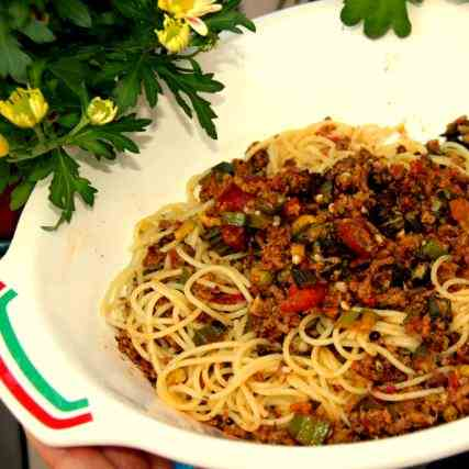 Spaghettini with crispy sauce