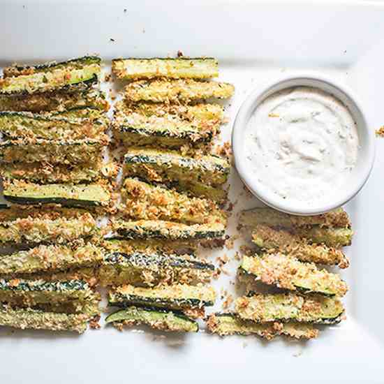 Baked Parmesan Zucchini Fries Garlic Aioli