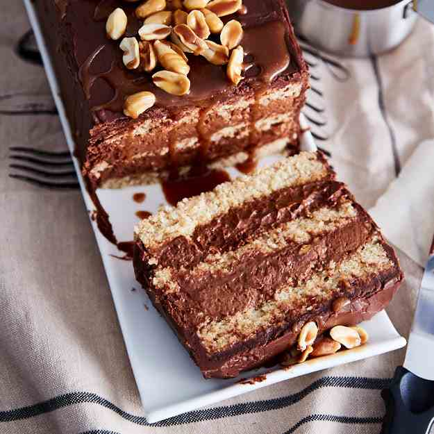 chocolate mousse cake with peanuts