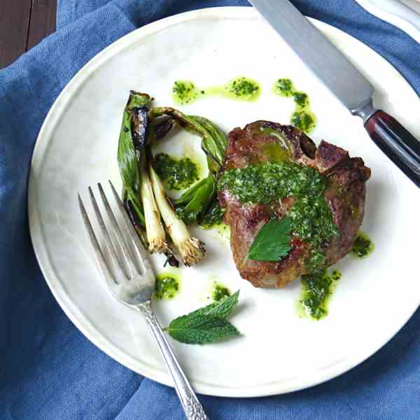 mint chimichurri lamb chops