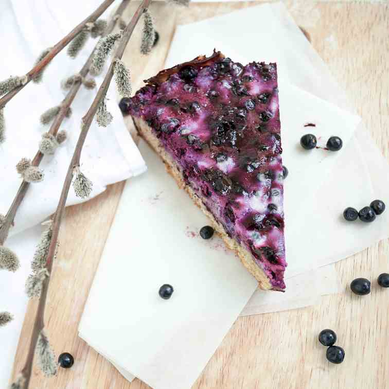 Blueberry pie with sour-cream