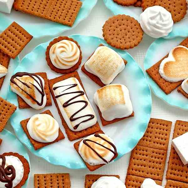 S'mores Made with Homemade Graham Crackers