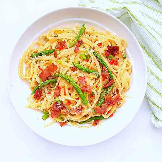 Asparagus Pasta w-Bacon - Lemon