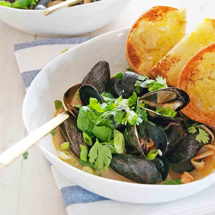 Mussels with Thai Chili Fennel Broth