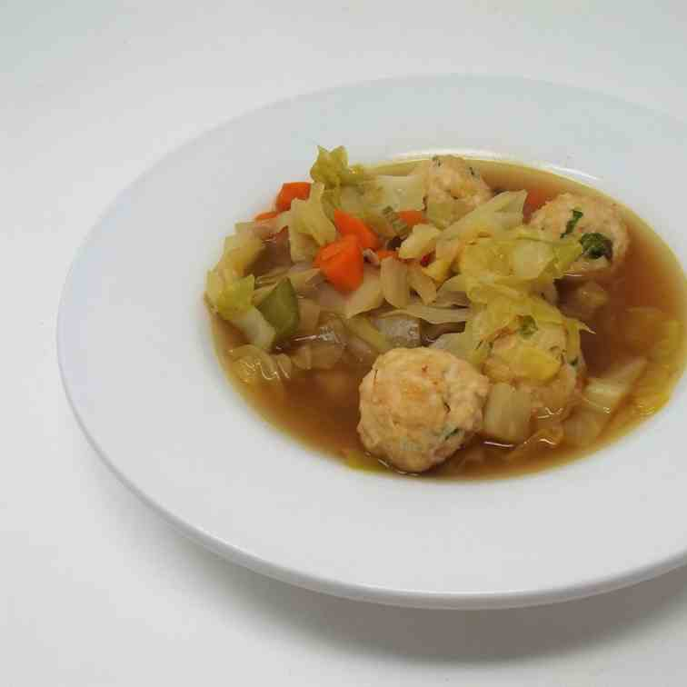 Cabbage Soup with Ginger Chicken Meatballs