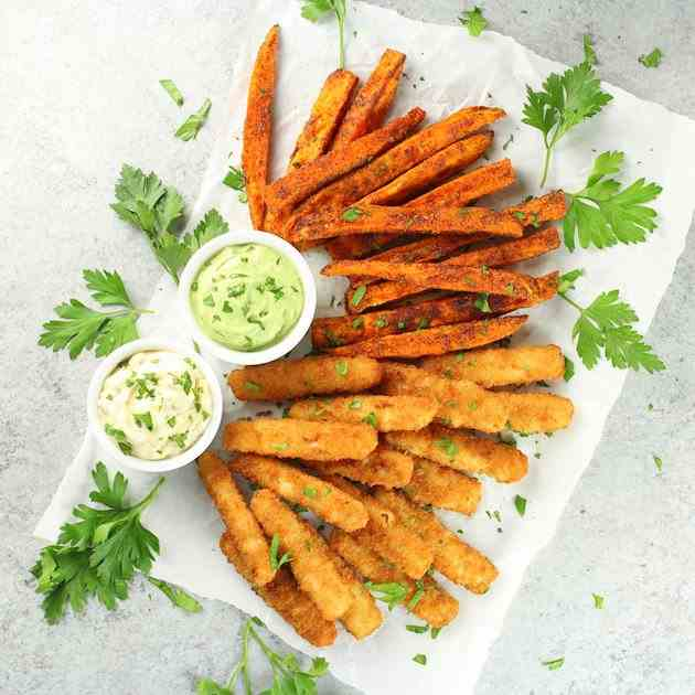 Fish Sticks with BBQ Sweet Potato Fries
