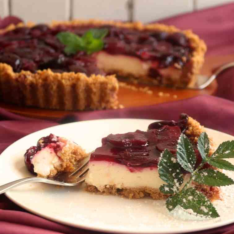 Cherry, Mascarpone Cheesecake Tart