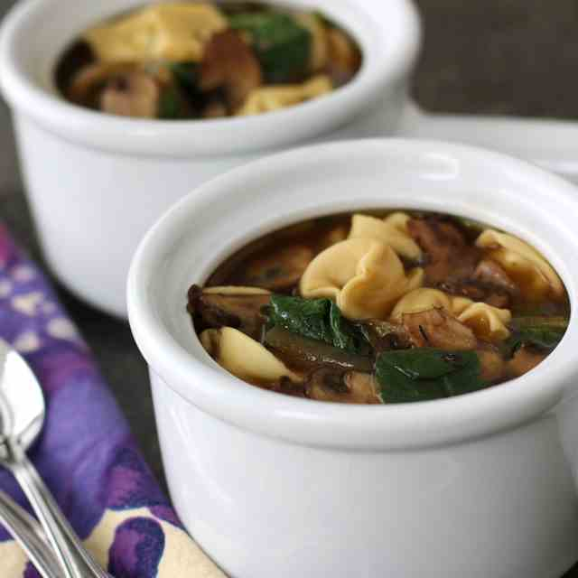Tortellini Soup with Caramelized Onions