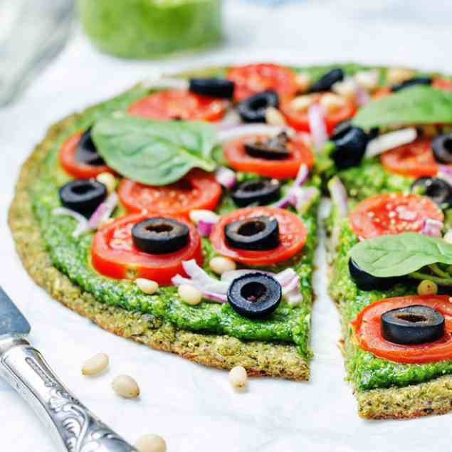 Flourless Mediterranean Broccoli Pizza