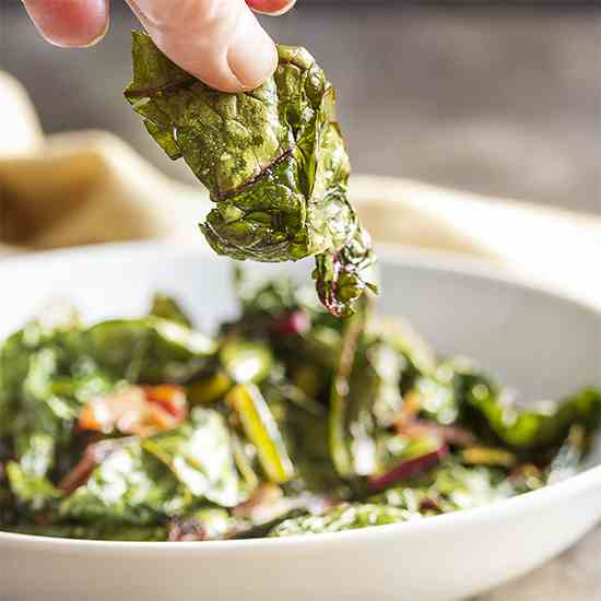 Bacony Swiss Chard Chips