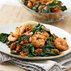 Collards with Chorizo and Shrimp