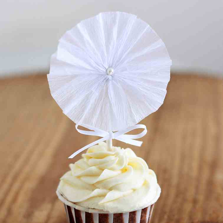 Crepe Paper Fan Cupcake Topper Tutorial