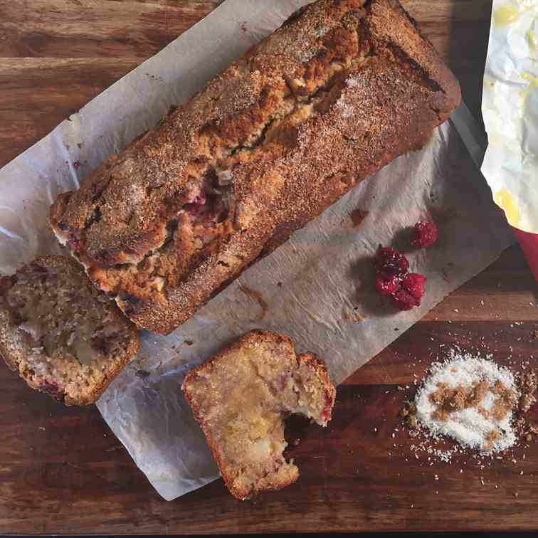 Pear, Coconut and Raspberry Bread