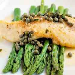 Halibut Picatta with Asparagus