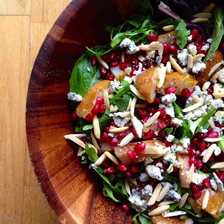 Roasted Pear Salad with Pomegranate