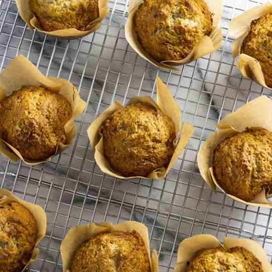 Bakery Style Banana Coconut Muffins