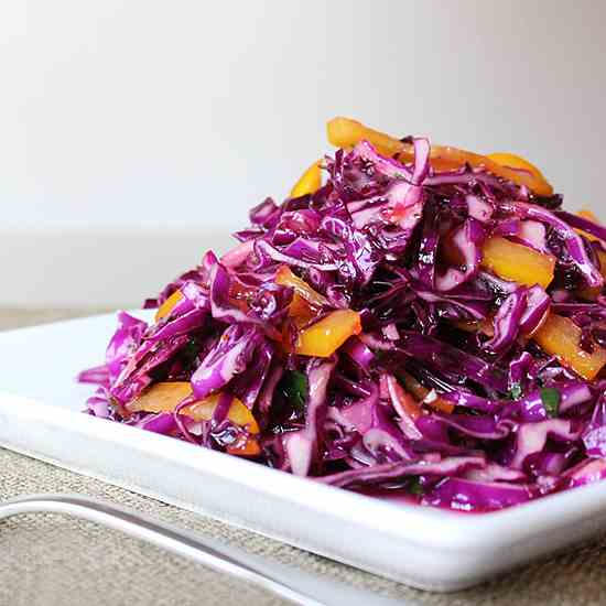 Purple Cabbage Yellow Pepper Slaw