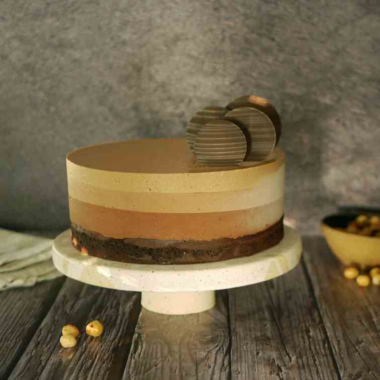 Coffee Gianduja Chocolate Mousse Cake