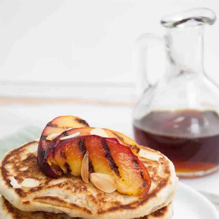 Vegan Pancakes with Grilled Peaches
