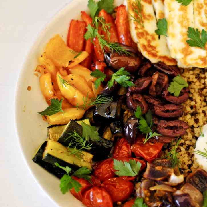 Roasted Veggie - Halloumi Quinoa Bowl