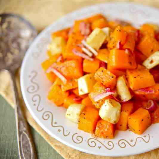 Roasted Butternut Squash and Parsnip Salad