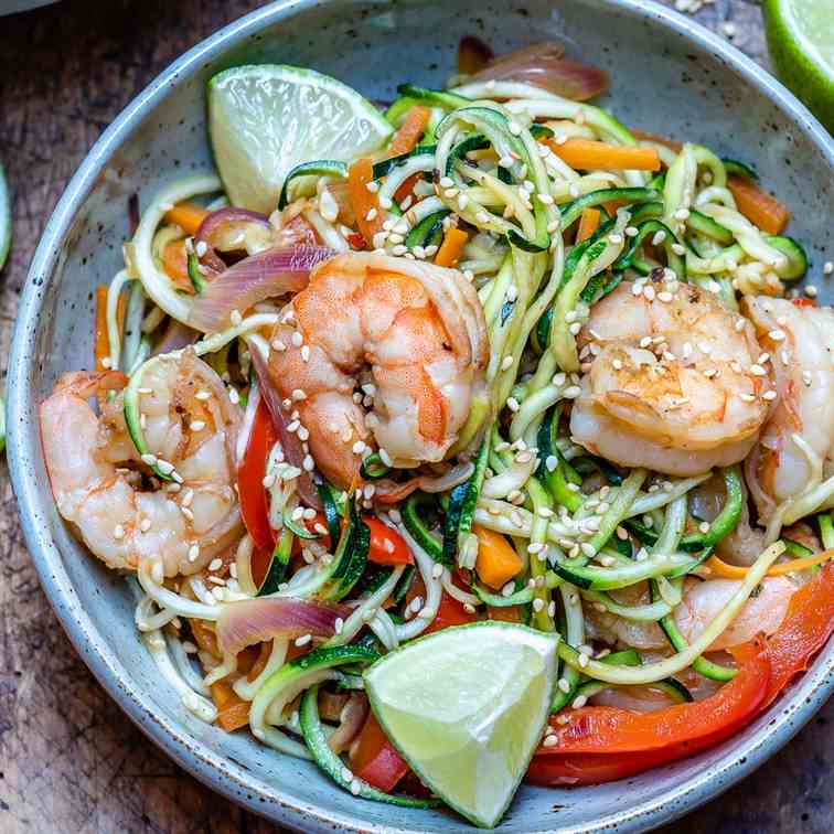 Garlic Shrimp And Zucchini Noodles