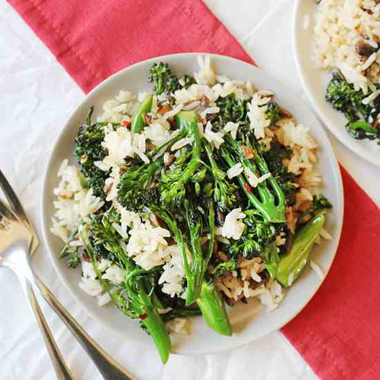 Fried Rice w Broccolini & Mushrooms