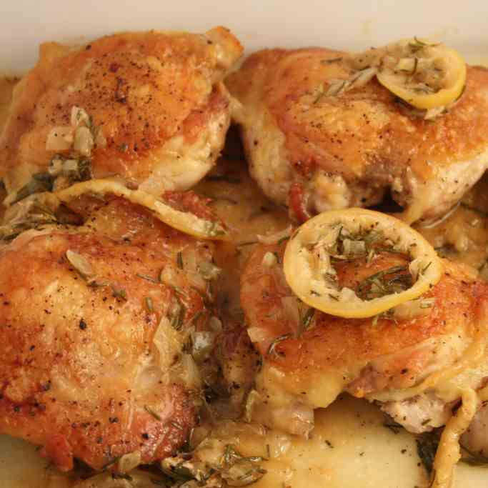 Roasted Chicken Thighs with Rosemary - Lem