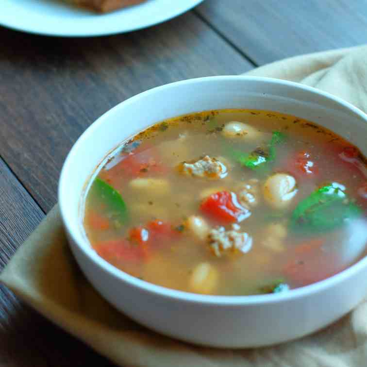French Turkey Soup with Beans - Greens