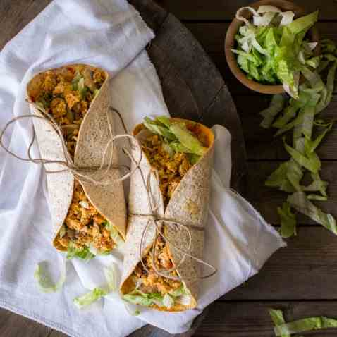 Tortilla wraps with eggs and tofu