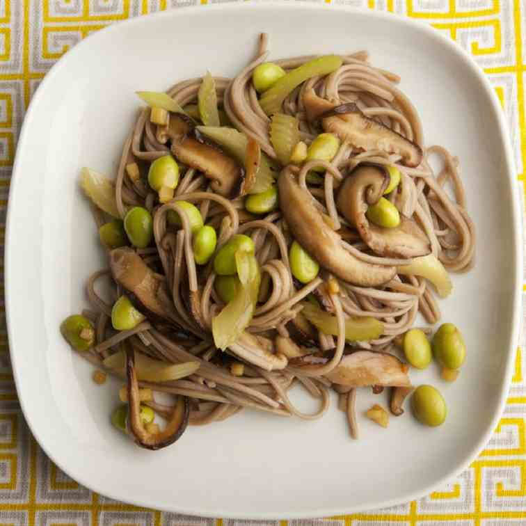 Soba Noodles with Mushroom and Celery