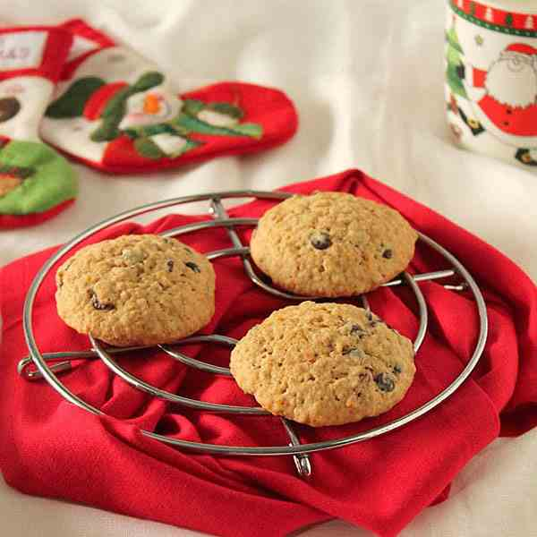 Cranberries and chocolate cookies