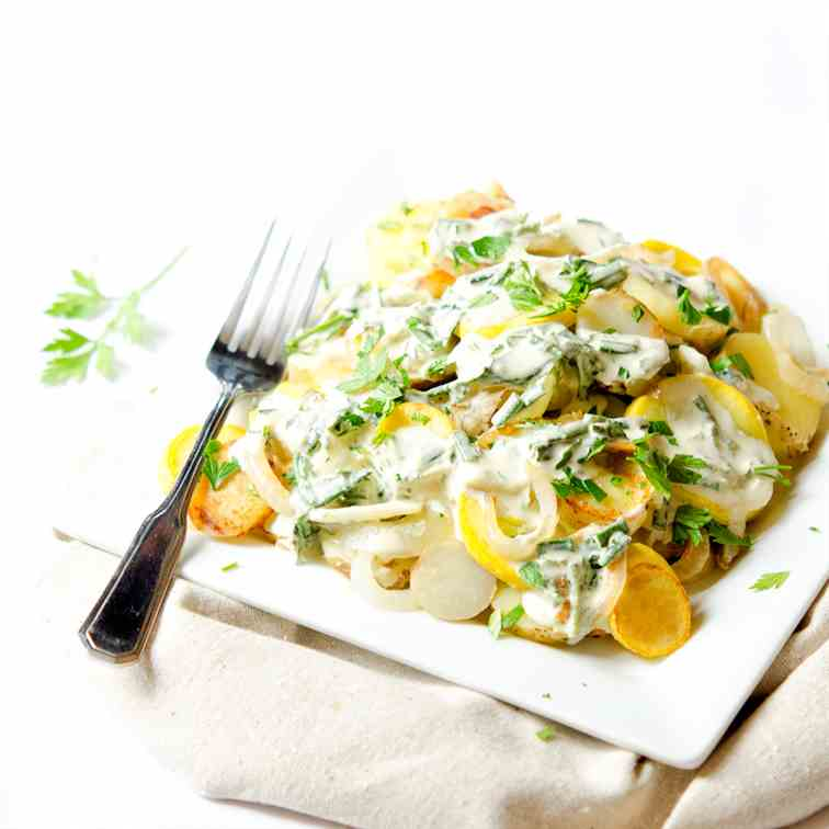 New Potatoes, Squash, - Herb Sauce