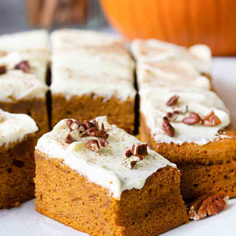 Pumpkin Sheet Cake With Cream Cheese Frost