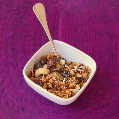 Granola with mixed nuts and coconut