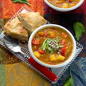 Roasted Pumpkin and Patty Pan Stew