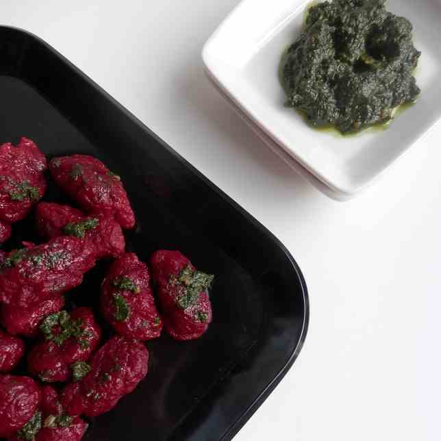 Beet Gnocchi with Beet Greens Pesto