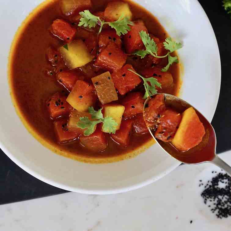 sweet and spicy watermelon curry
