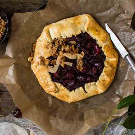 Cherry galette with coconut