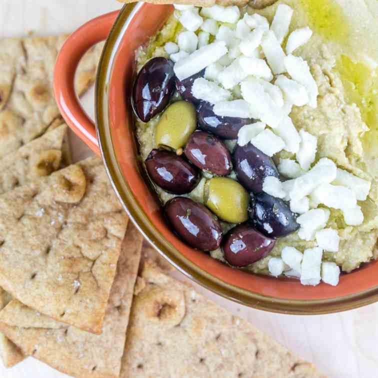 Olive - Feta Hummus with Pita Chips