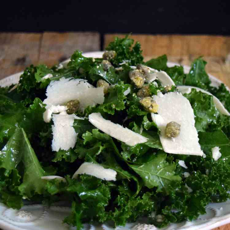 Kale Salad with Fried Capers and Parmesan