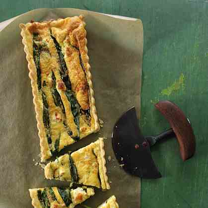 Wild garlic - feta cheese quiche