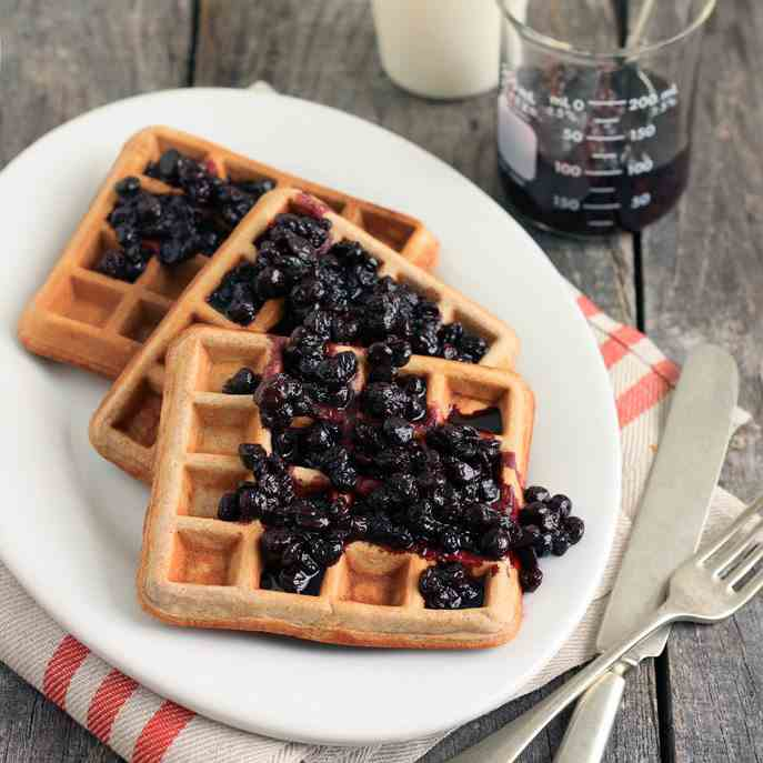 Cinnamon Teff Blueberry Waffles