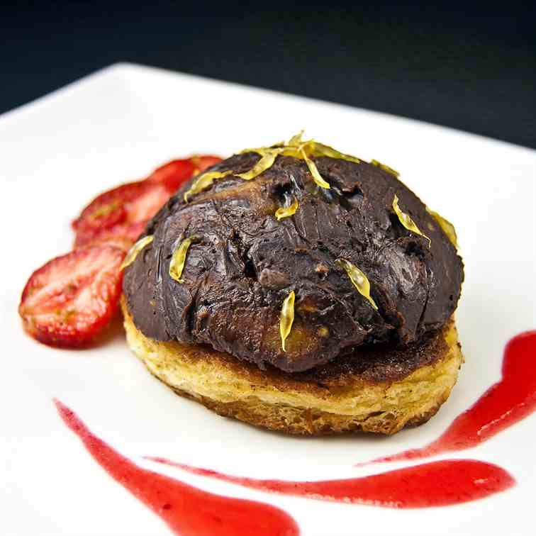 Dark chocolate-eggplant sweet dome