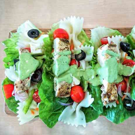 Lettuce wraps with pasta salad