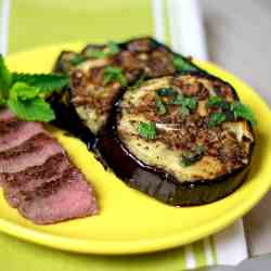 Grilled Eggplant with Garlic Sauce and Min