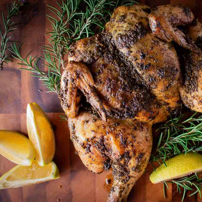 Butterflied Roast Chicken with herbs