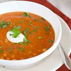 Red lentil soup with chickpeas